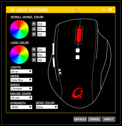 QPAD 8K Laser Pro Gaming Mouse LED表示色