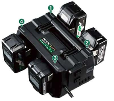 HiKOKI UC18YTSL 4つの電池を一度に充電、ACタップ機能も内蔵