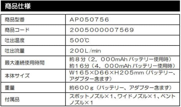 アストロプロダクツ 充電式ヒートガン