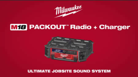 Milwaukee M18 PACKOUT Radio + Charger、バッテリーが充電できるPACKOUT対応ラジオ
