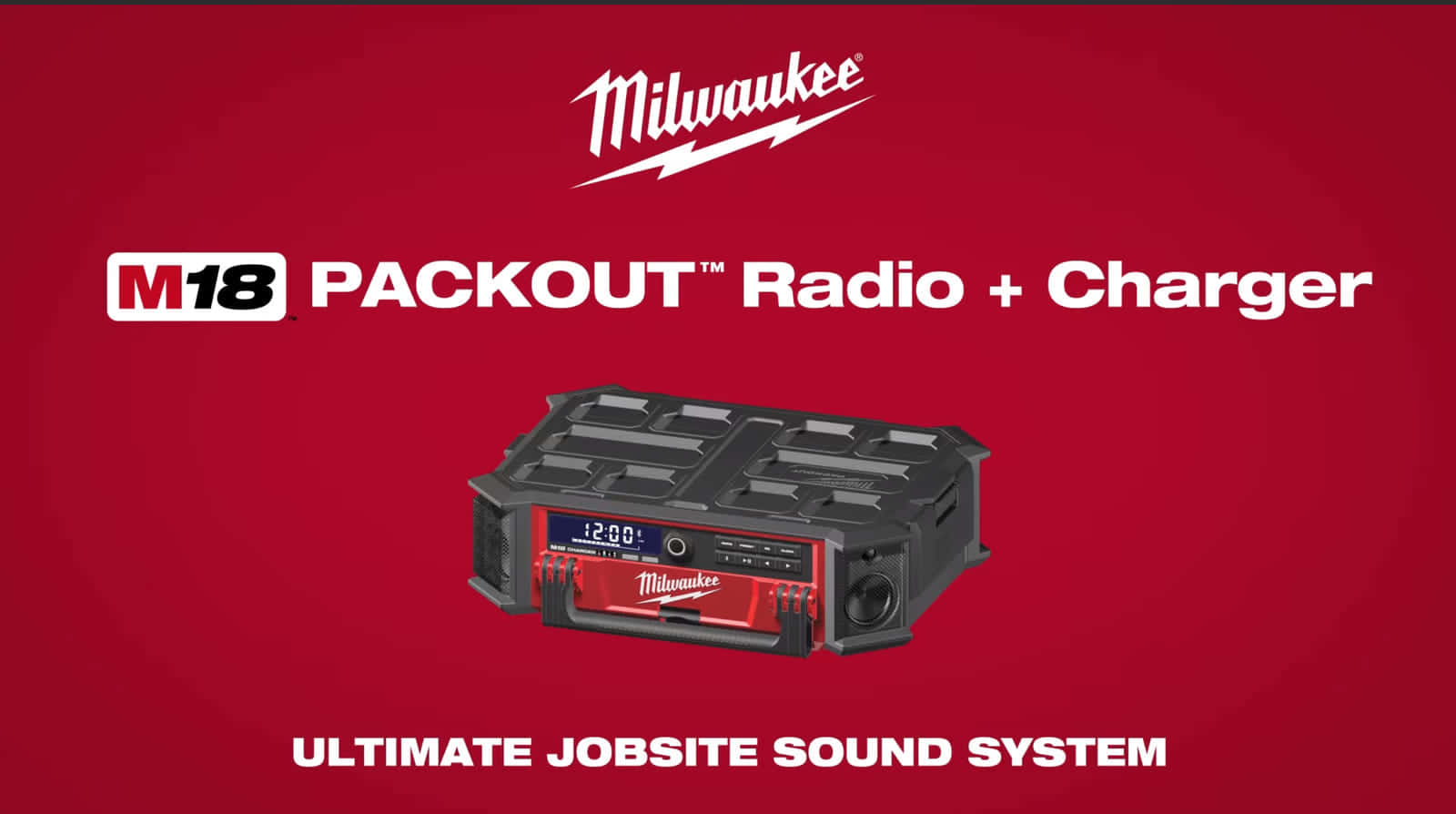 Milwaukee『M18 PACKOUT Radio + Charger』を発表、バッテリーが充電できるPACKOUT対応ラジオ