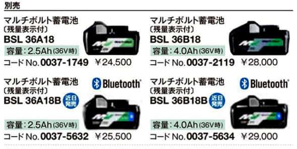HiKOKI Bluetoothバッテリー BSL36A18B カタログ