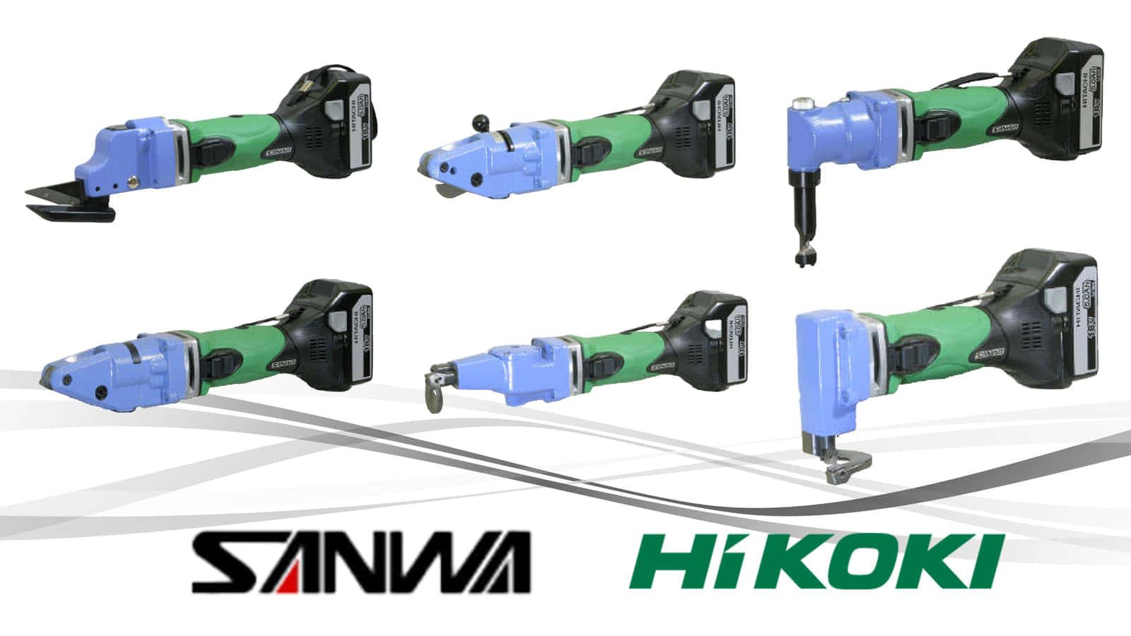 サンワ、HiKOKIバッテリーに対応するコードレス板金切断電動工具