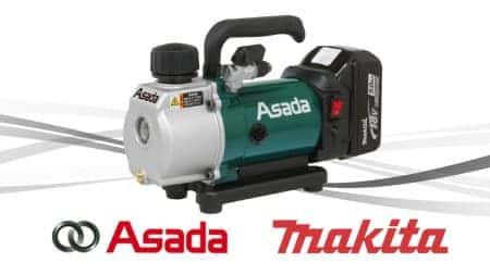 アサダ 1.5CFM マキタ18Vバッテリー対応充電式真空ポンプ